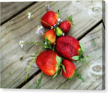 Canvas Print featuring the digital art Strawberrries by Valerie Reeves