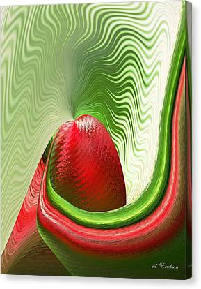 Strawberry And Fan Canvas Print by rd Erickson