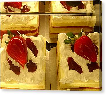Strawberry Cakes Canvas Print by Amy Vangsgard
