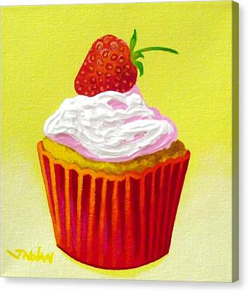 Strawberry Cupcake Canvas Print by John  Nolan