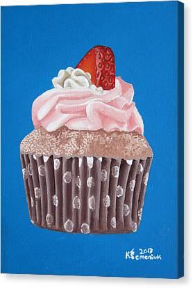 Strawberry Cupcake Canvas Print by Kayleigh Semeniuk