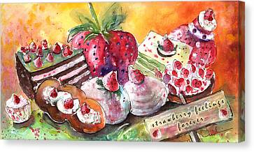 Strawberry Feelings Forever Canvas Print by Miki De Goodaboom