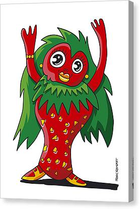Humor Canvas Print - Strawberry Girl Doodle Character by Frank Ramspott