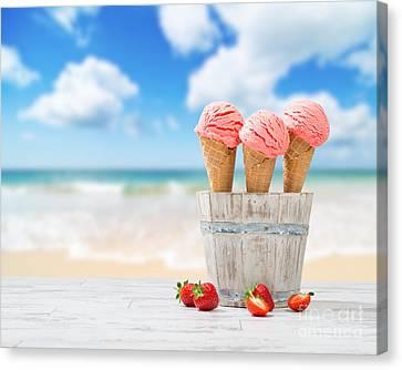 Strawberry Ice Creams Canvas Print by Amanda Elwell