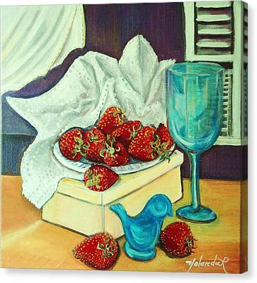 Canvas Print featuring the painting Strawberry On Box by Yolanda Rodriguez