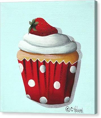Strawberry Shortcake Cupcake Canvas Print by Catherine Holman