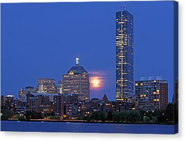 Strawberry Supermoon Over Boston Skyline Canvas Print