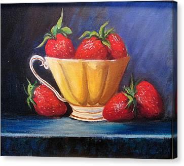 Strawberry Teacup Canvas Print