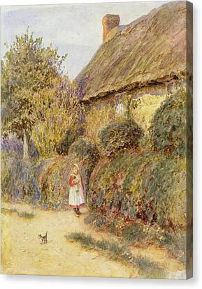 Straying  Canvas Print by Helen Allingham