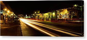 Streaks Of Lights On The Road In A City Canvas Print