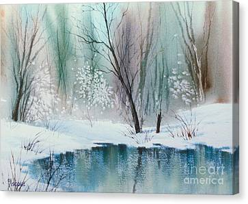 Stream Cove In Winter Canvas Print by Teresa Ascone