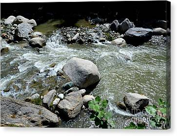Canvas Print featuring the photograph Stream Water Foams And Rushes Past Boulders by Imran Ahmed