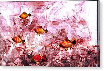 Canvas Print featuring the painting Streaming by Ron Richard Baviello