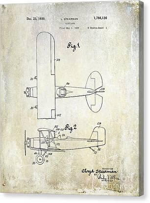 Stearman Canvas Print - 1929 Stearman Patent Drawing by Jon Neidert