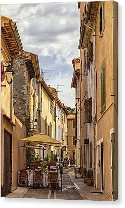 Street Cafe In Cassis Canvas Print
