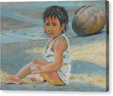 Street Child In New Delhi Canvas Print