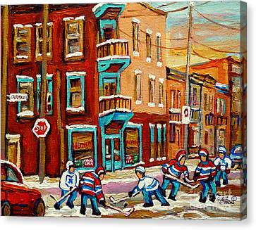 Street Hockey Practice Wilensky's Diner Montreal Winter Street Scenes Paintings Carole Spandau Canvas Print by Carole Spandau