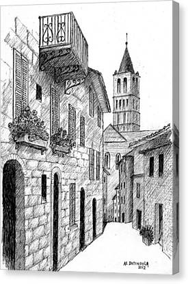 Street In Assisi Italy Canvas Print