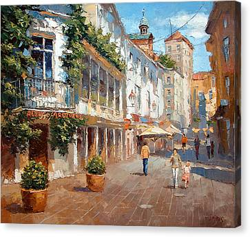 Canvas Print featuring the painting Street In Baden Baden by Dmitry Spiros