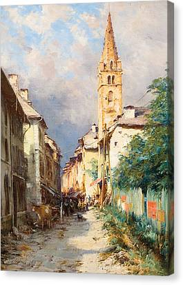 Street In Barcelonette Canvas Print by Charles Alexandre Bertier
