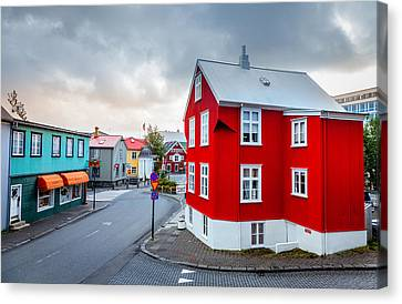 Street In Reykjavik Canvas Print by Alexey Stiop