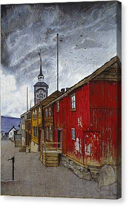 Street In Roros Canvas Print by Harald Sohlberg