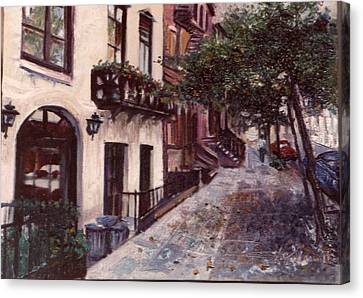 Canvas Print featuring the painting street in the Village NYC by Walter Casaravilla