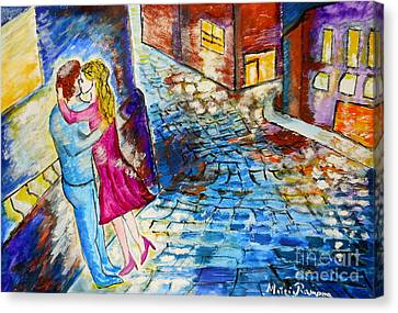 Canvas Print featuring the painting Street Kiss By Night  by Ramona Matei