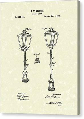 Street Lamp 1876 Patent Art Canvas Print by Prior Art Design