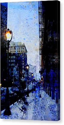 Street Lamp And Blue Abstract Painting Canvas Print by Anita Burgermeister