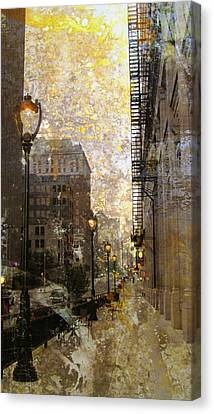 Street Lamp And Gold Metallic Painting Canvas Print by Anita Burgermeister