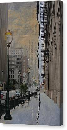 Street Lamp And Painted Newspaper Canvas Print by Anita Burgermeister