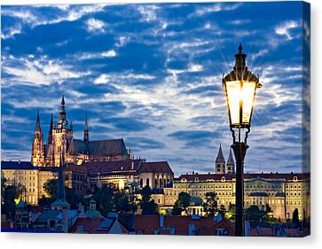 Street Lamp On The Charles Bridge / Prague Canvas Print by Barry O Carroll