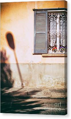 Canvas Print featuring the photograph Street Lamp Shadow And Window by Silvia Ganora
