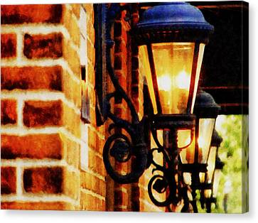 Street Lamps In Olde Town Canvas Print by Michelle Calkins