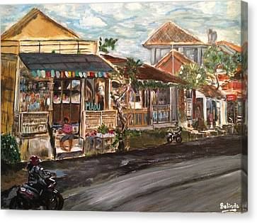 Canvas Print featuring the painting Street Life by Belinda Low