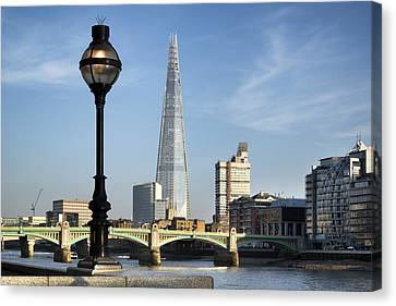 Street Light And Shard Canvas Print by Matthew Gibson