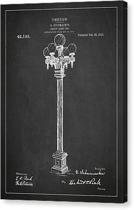 Street Light Post Patent Drawing From 1904 Canvas Print by Aged Pixel