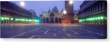 Street Lights Lit Up In Front Canvas Print