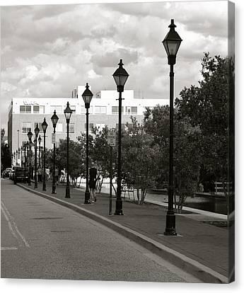 Canvas Print featuring the photograph Street Lights by Roseann Errigo