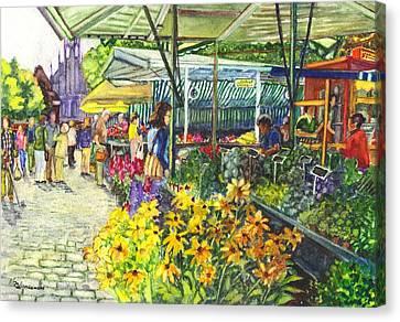 Watercolor Munster Germany Street Market  Canvas Print by Carol Wisniewski