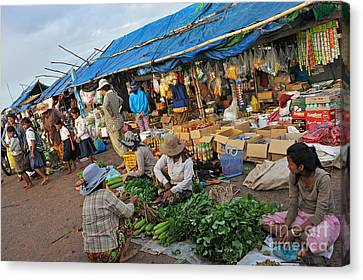 Street Market In Siem Reap Canvas Print by Sami Sarkis