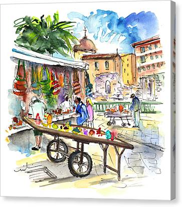 Street Merchants In Ortigia 02 Canvas Print