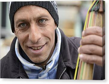 Street Musician - The Gypsy Bassist 1 Canvas Print