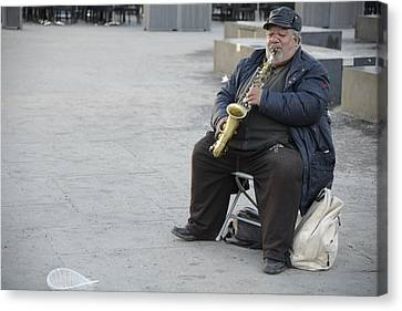 Street Musician - The Gypsy Saxophonist 3 Canvas Print