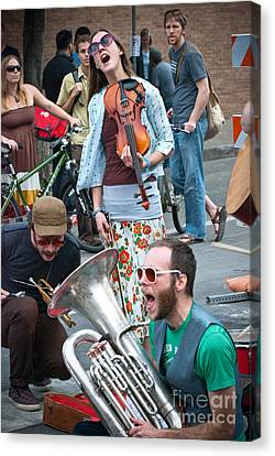 Street Performers In Austin Texas Canvas Print by Sonja Quintero