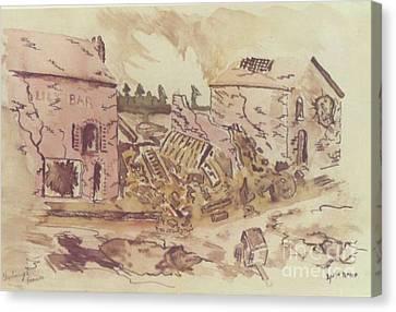 Ww Ii Canvas Print - Street Scene Cherbourg France by David Neace