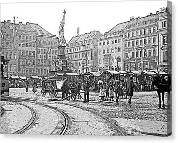 Canvas Print featuring the photograph Street Scene Dresden Germany C1900 Vintage Poster Image by A Gurmankin