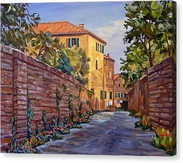 Street Scene Sienna Tuscany Canvas Print by Robert Gerdes