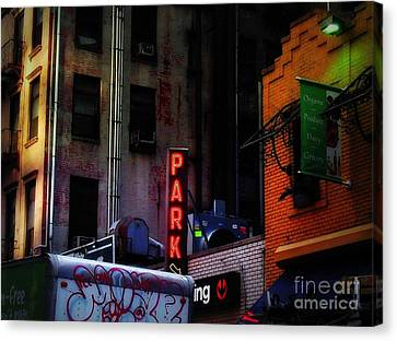 Canvas Print featuring the photograph Graffiti And Grand Old Buildings by Miriam Danar